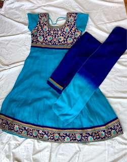 Blue Punjabi full set with pants and dupatta