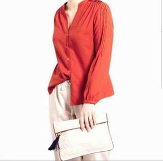 👉👉INSTOCK UK18 UK20 PLUS SIZE LONG SLEEVES ORANGE RED BLOUSE SHIRT CHINESE NEW YEAR CLOTHES TOP