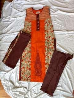 Full kurti set with pants and dupatta