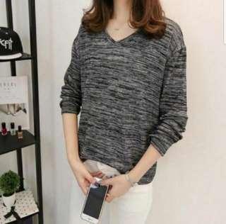 👉👉INstock 🌹🌹(L~6XL) Long Sleeves Blouse Grain knitted Top Oversized Plus Size Uk10 Uk12 Uk14 Uk16 Uk18 Korean Style