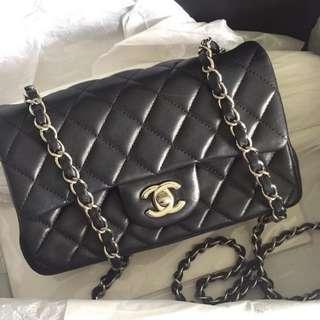 Chanel Mini Rectangular Black Lambskin with SHW