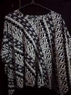 Baju Batik Biru Dongker