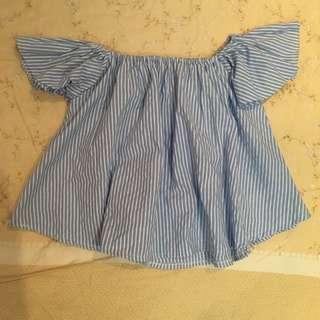🚚 泰國帶回 條紋澎澎袖一字領短版藍白上衣