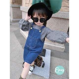 Kids Girls 2Pcs Denim Strap Jumpsuit Dress with Checkered Shirt