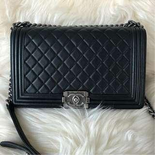 Chanel Boy New Medium Black Lambskin with RHW