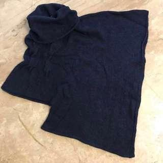 意大利設計🇮🇹Design in Italy 不規則深藍色樽領冷衫 KUSO irregular shape Turtle neck dark blue winter wear