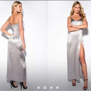 Silver Satin Evening Ball Dress