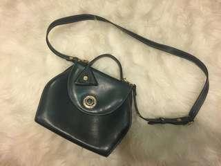 Dark Green Genuine Leather Sling bag