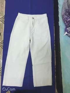 🚚 白色修身寬褲