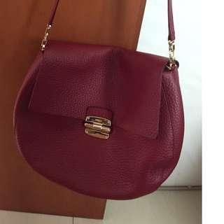 Bag furla full leather colour red maroon