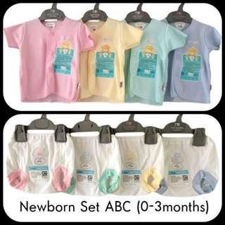 🚚 0-3 newborn casual wear set ABC (top+bottom)