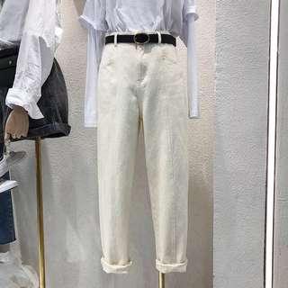 。白色百搭直筒褲。S/M/L