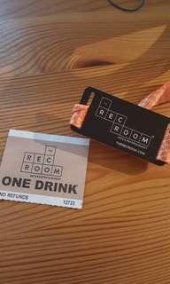 Rec room drink ticket and wrist band (free with purchase)