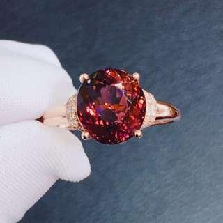 新品🌹🌹天然18k金碧璽鑽石戒指💍主石3.45ct , 艶紅色,火彩超閃耀,實物讓人愛不釋手,$3890,免費改圈。