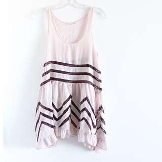 Free People Trapeze pink voile lace slip dress tunic top boho S small