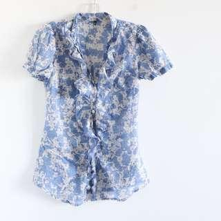 Benetton blue floral top S small light cotton