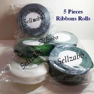 $12 For All ≈ 5 Pieces Bundle Ribbons Rolls Gift Presents Wrapping Miscellaneous Misc