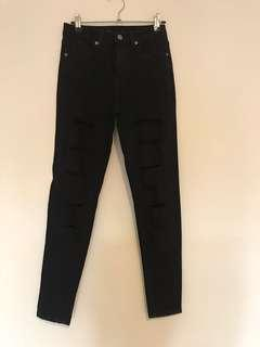Black High Waisted Jeans with Rips