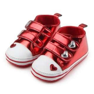 Baby Newborn Toddler Crib Soft PU Metallic Leather Glitter Glam Learner Walker Shoes - FREE DELIVERY!