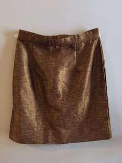 Pencil-cut Brown Skirt
