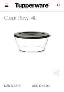 Tupperware 4L Clear Bowl