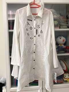 日本白色貼布顯瘦長裇衫