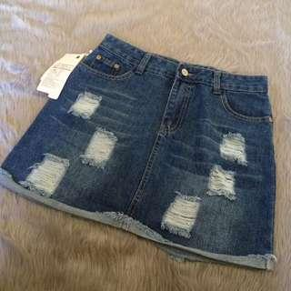 Brandnew DENIM TATTERED Skirt