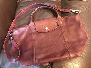 Longchamp Bag 紫紅色皮革細size