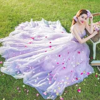 Bridal gown wedding gown purple