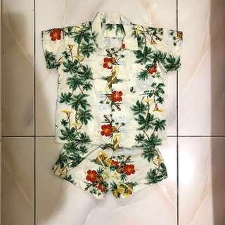 🚚 南洋風寶寶襯衫衣褲套裝 3-6M