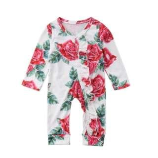 <FREE DELIVERY> Baby Toddler Infant Newborn Beautiful Red Roses Floral Printed Long Sleeves Bodysuit Romper