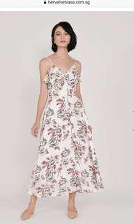 HVV Tabitha Floral Ruffle Maxi - White S