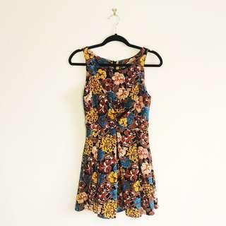 (S/M) Boutique Floral A-Line Dress