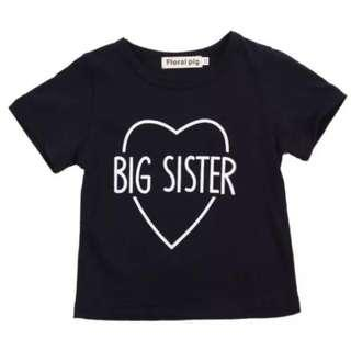 🚚 Instock - big sister shirt, baby infant toddler girl