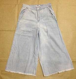 Wide leg soft denim pants