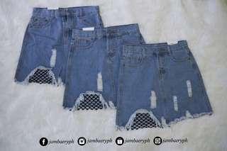 Denim Skirt With Net