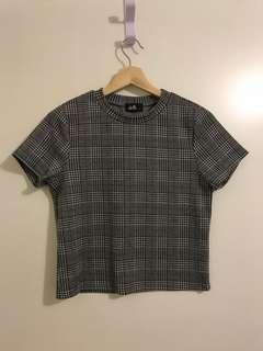 Check print grey shirt