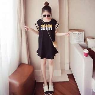 🚚 #005 hem dress ( black / yellow )