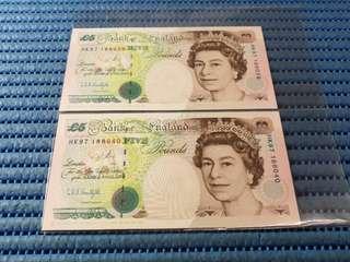 2X 1997 United Kingdom HK97 £5 Pounds Note Commemorative Banknote with Folder HK97 188039-188040 Run
