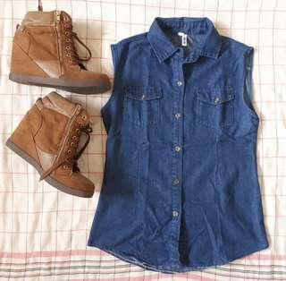 Sleeveless Blue Top