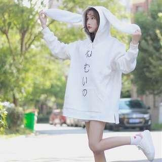 Cute oversized hoodies white from jp
