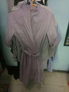 Dress stripe vesperine ungu kerja kemeja