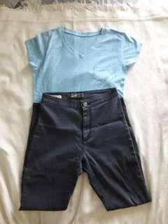 Pocket Tee & High Waist Jeans