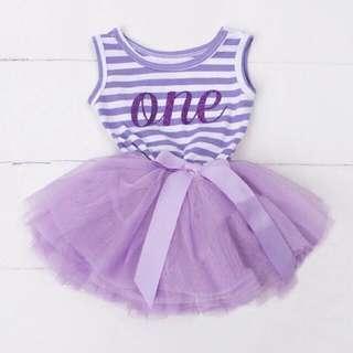 🚚 Instock - 1st purple birthday dress, baby infant toddler girl