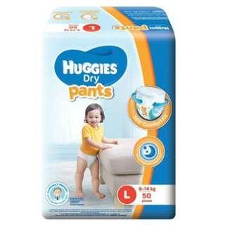 Huggies dry pants L50 or XL44