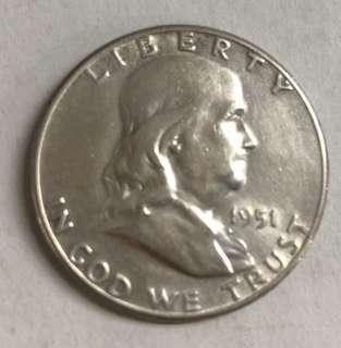 c96 1951-S US Franklin Half Dollar Silver Coin