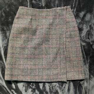 KOREAN STYLE HOUNDSTOOTH PATTERNED WRAP HIGH WAIST SKIRT SIZE SMALL