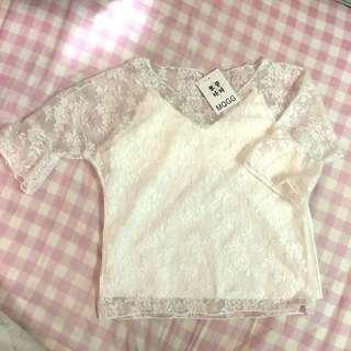 Two piece lace trumpet sleeve top