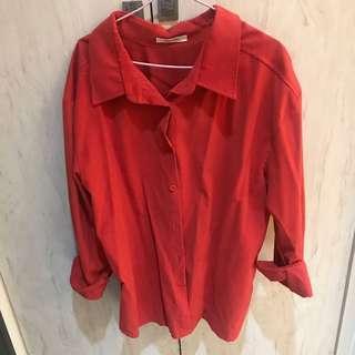 🚚 紅色挺版男友襯衫