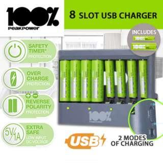 Rechargeable batteries and USB charger